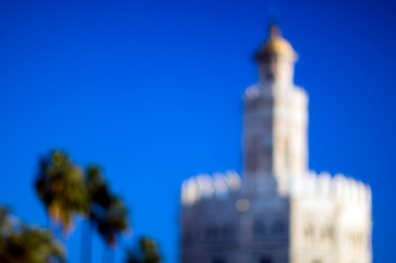 Intentionally blurred image of the Golden Tower (12th century), town of Seville, autonomous community of Andalusia, southern Spain