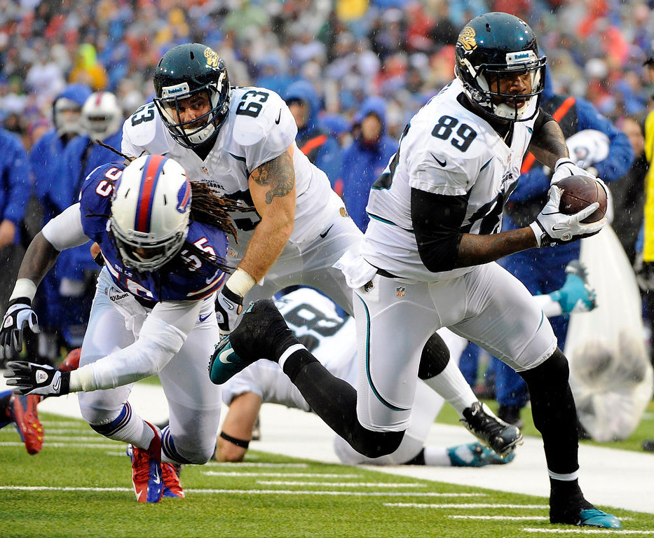 . Jacksonville Jaguars tight end Marcedes Lewis (89) runs away from Buffalo Bills linebacker Kelvin Sheppard (55) during the first half of an NFL football game on Sunday, Dec. 2, 2012, in Orchard Park, N.Y. (AP Photo/Gary Wiepert)