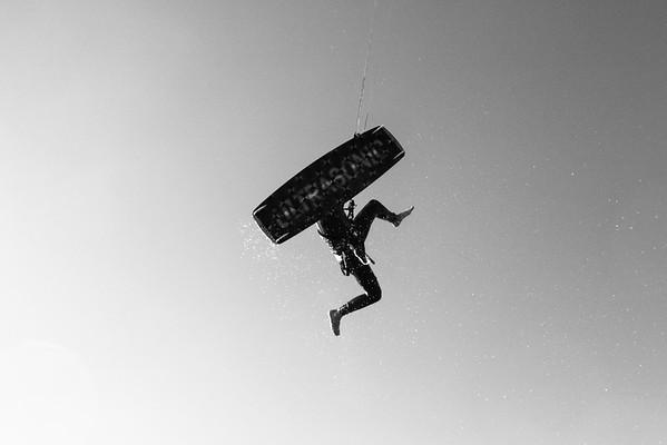 Kitesurfing in black and white