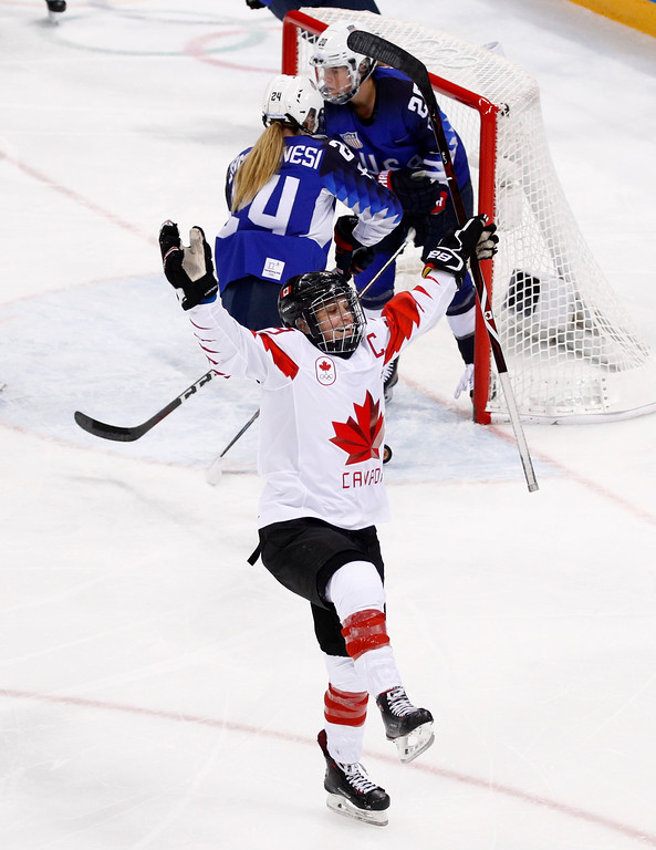 . Marie-Philip Poulin (29), of Canada, celebrates after scoring a goal during the second period of the women\'s gold medal hockey game against the United States at the 2018 Winter Olympics in Gangneung, South Korea, Thursday, Feb. 22, 2018. (AP Photo/Jae C. Hong)