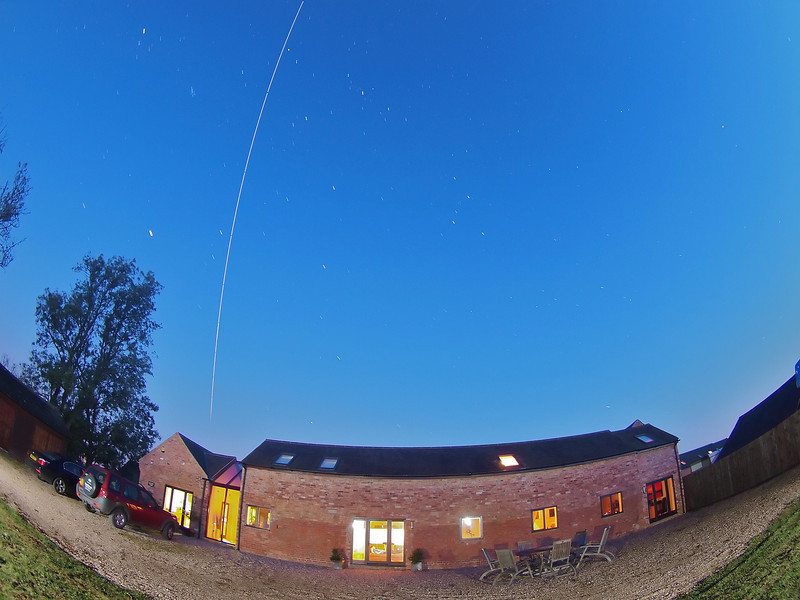 Sept 29 2011 ISS pass from 0607hrs flyby. Approx dozen exposures combined & captured with Olympus E5 & 8mm fisheye.