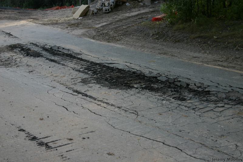 The results of construction equipment on thin pavement