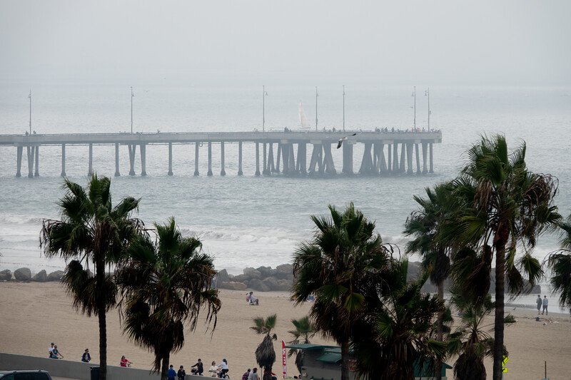 The Venice Pier on a foggy Saturday afternoon.
