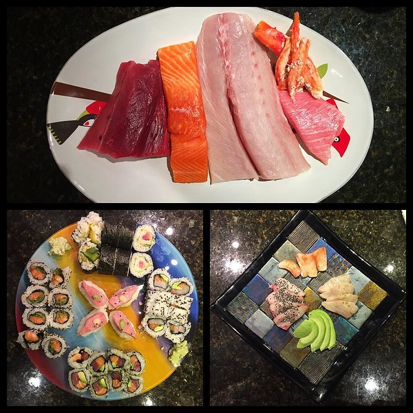 On the table tonite: homemade #sushi (blue fin tuna; king salmon; way too much hamachi; king crab; toro cc @sushimastertessa