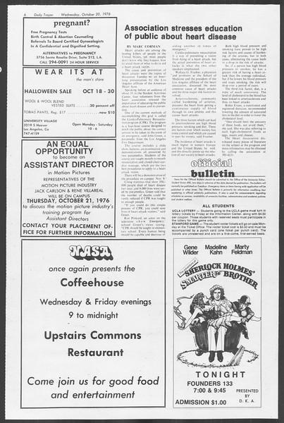 Daily Trojan, Vol. 70, No. 22, October 20, 1976