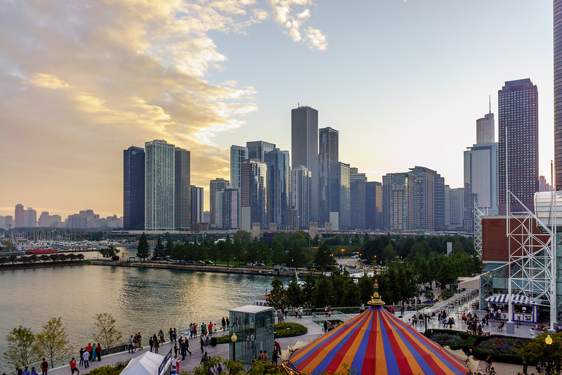 The skyline sunset from Navy Pier