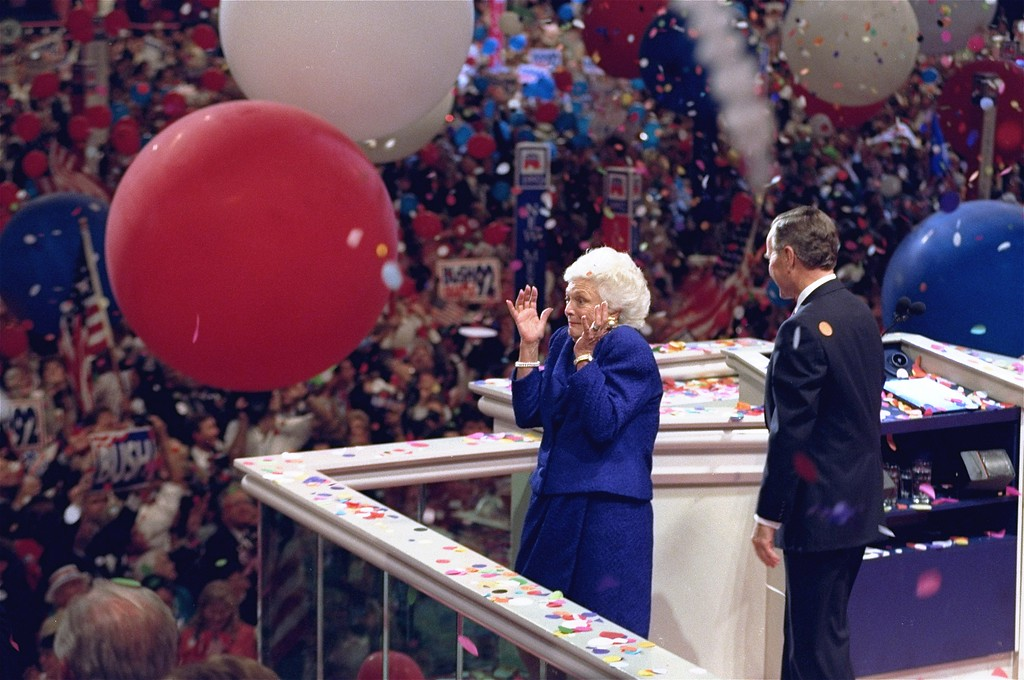 . First lady Barbara Bush reacts as a large balloon falls while President Bush looks out towards the crowd at the conclusion of the Republican National Convention in the Houston Astrodome Thursday, August 20, 1992.  Bush roused GOP delegates to cheers as he and Dan Quayle accepted their party\'s nomination for a second term. (AP Photo/John Duricka)
