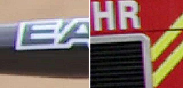 400% enlarged crop of video frames.