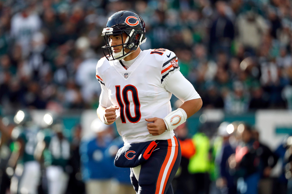 . Chicago Bears\' Mitchell Trubisky jogs to the sidelines during the first half of an NFL football game against the Philadelphia Eagles, Sunday, Nov. 26, 2017, in Philadelphia. (AP Photo/Chris Szagola)