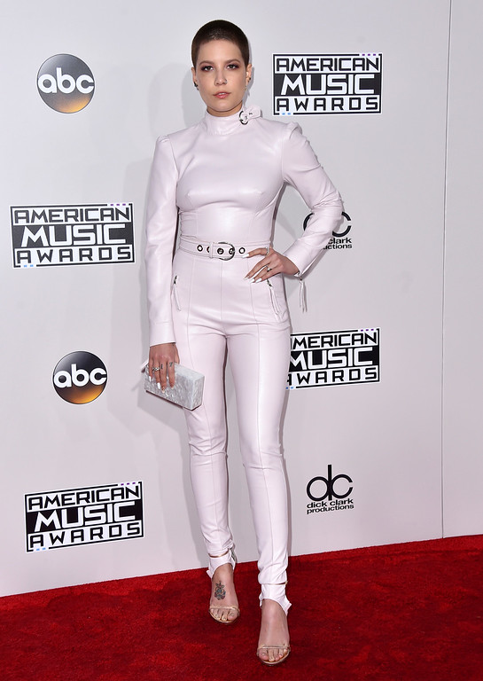 . Halsey arrives at the American Music Awards at the Microsoft Theater on Sunday, Nov. 20, 2016, in Los Angeles. (Photo by Jordan Strauss/Invision/AP)