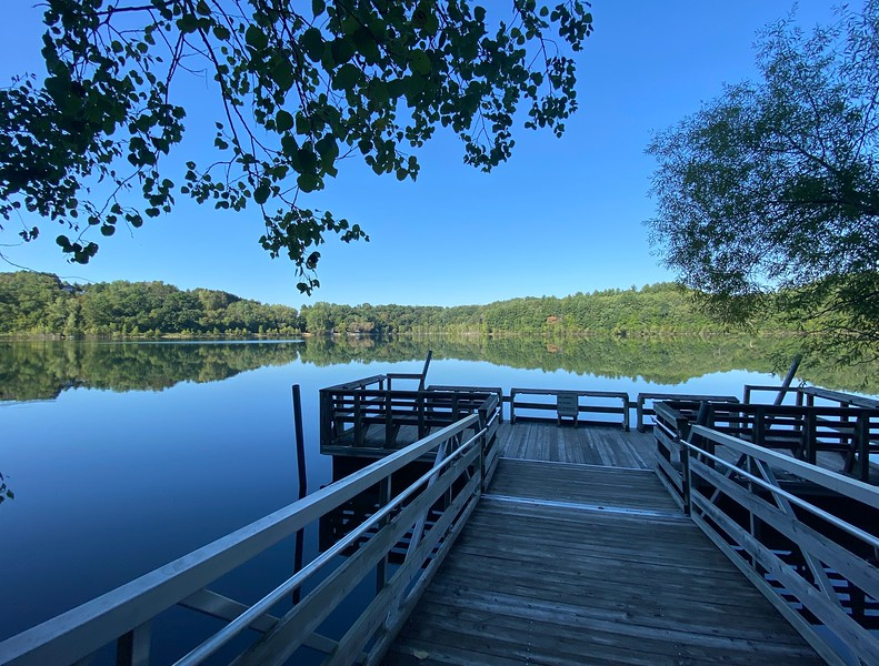 The fishing pier at Perch Lake County Park St. Croix County.