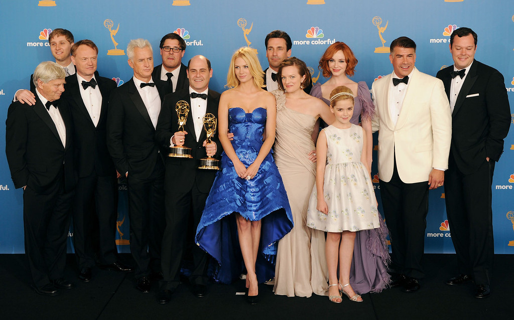 """. \""""Mad Men\"""" cast and crew members, winners of the Outstanding Drama Series Award pose in the press room at the 62nd Annual Primetime Emmy Awards held at the JW Marriott Los Angeles at L.A. Live on August 29, 2010 in Los Angeles, California. (Photo by Jason Merritt/Getty Images)"""