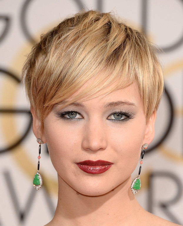 . Actress Jennifer Lawrence attends the 71st Annual Golden Globe Awards held at The Beverly Hilton Hotel on January 12, 2014 in Beverly Hills, California.  (Photo by Jason Merritt/Getty Images)