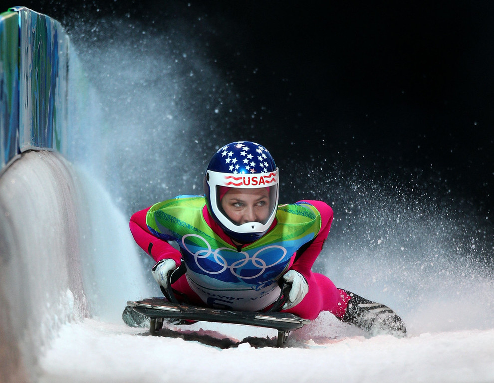 . Noelle Pikus-Pace of the United States competes in the women\'s skeleton fourth heat on day 8 of the 2010 Vancouver Winter Olympics at the Whistler Sliding Centre on February 19, 2010 in Whistler, Canada.  (Photo by Richard Heathcote/Getty Images)