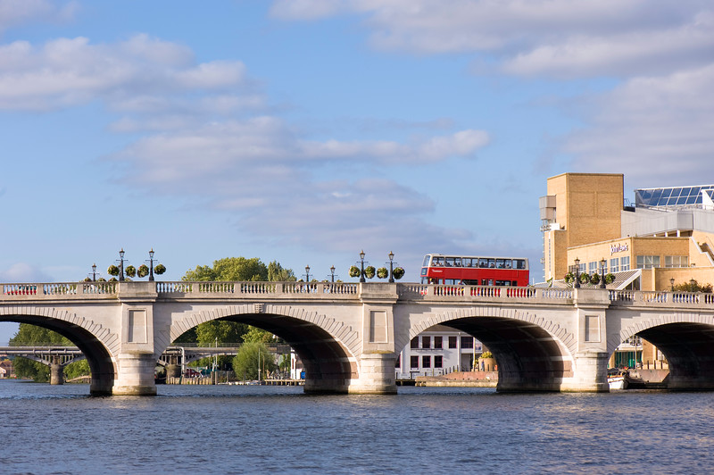 Kingston Bridge across Thames River, Kingston upon Thames, Surrey, United KIngdom