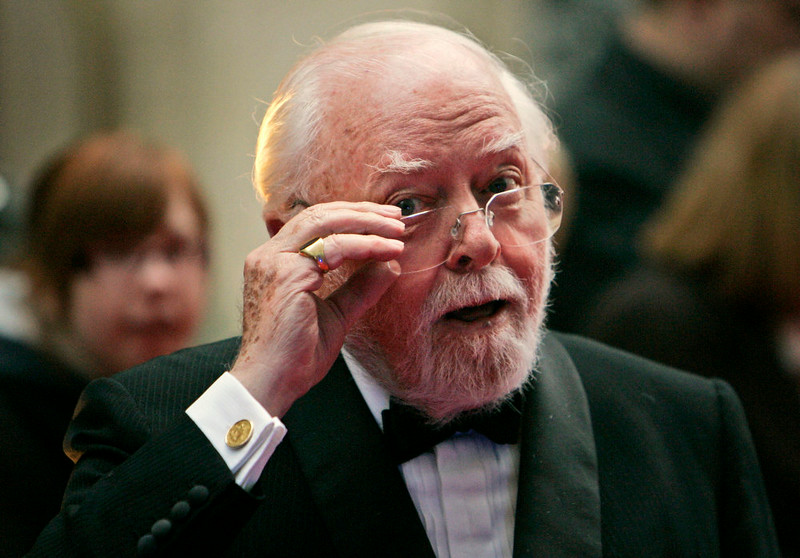 . In this Wednesday, April 9, 2008 file photo, British actor and director Richard Attenborough arrives at the Galaxy British Book Awards in London. Acclaimed actor and Oscar-winning director Richard Attenborough, whose film career on both sides of the camera spanned 60 years, died on Sunday, Aug. 24, 2014. He was 90. (AP Photo/Lefteris Pitarakis, File)