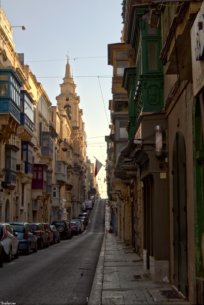 Valletta, Malta.    St Paul Street toward St Paul's Church