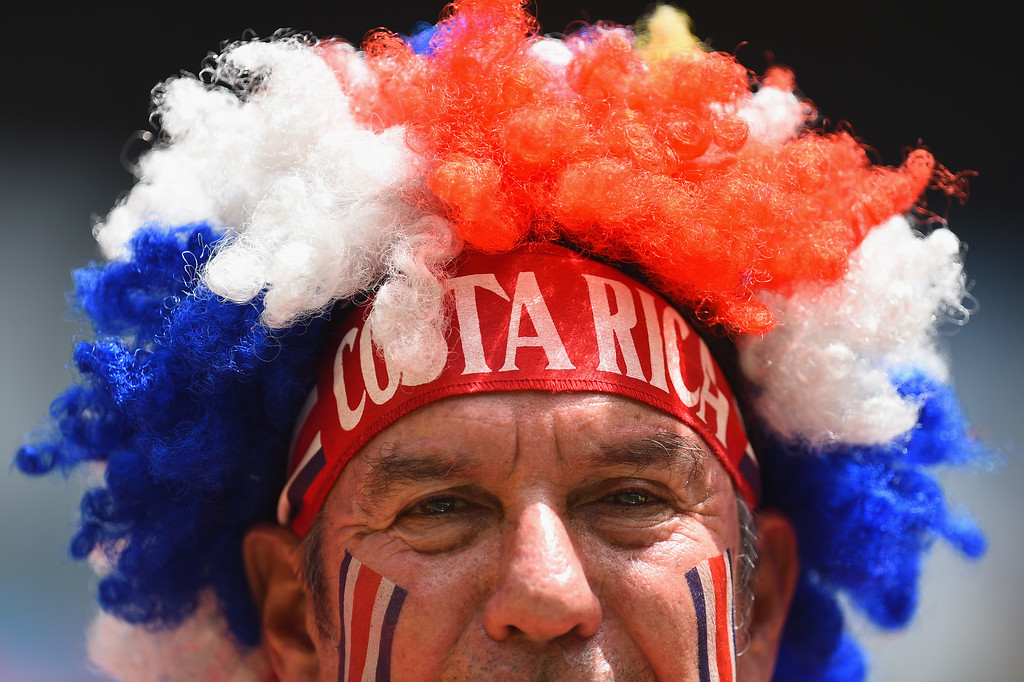 . A Costa Rica fan enjoys the atmosphere prior to the 2014 FIFA World Cup Brazil Group D match between Italy and Costa Rica at Arena Pernambuco on June 20, 2014 in Recife, Brazil.  (Photo by Jamie McDonald/Getty Images)