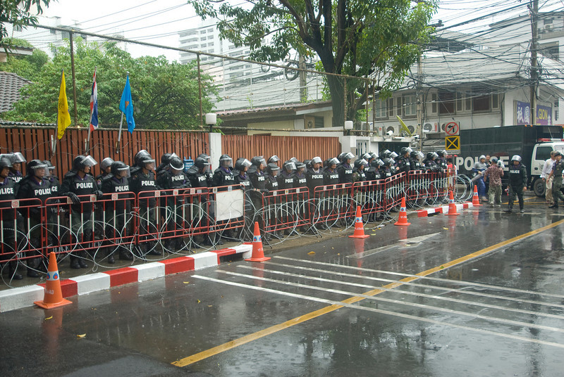 Riot police defensive line during Red Shirt Protest in Thailand