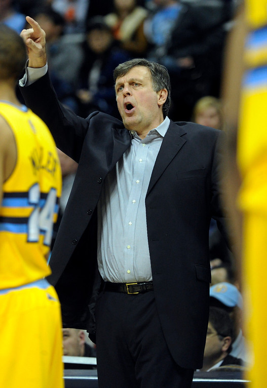 . DENVER, CO. - APRIL 6: Rockets coach Kevin McHale set up his squad in the first half. The Denver Nuggets hosted the Houston Rockets at the Pepsi Center Saturday night, April 6, 2013. Photo By Karl Gehring/The Denver Post)
