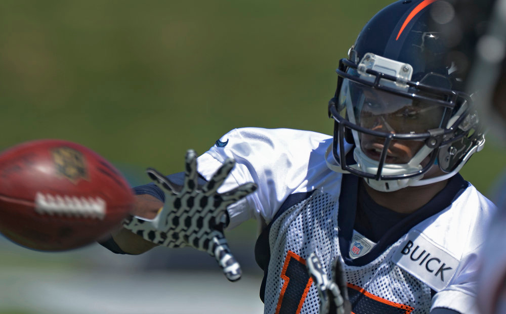 . Kemonte\'  Batman (13) WR of the Denver Broncos catches a pass during the last day of rookie mini camp May 12, 20313 at Dover Valley.   (Photo By John Leyba/The Denver Post)