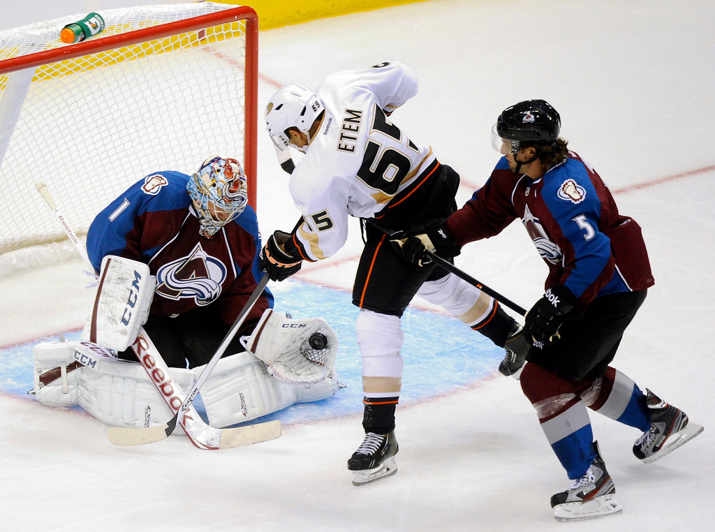. Colorado goalie Semyon Varlamov (1) made a save as Anaheim forward Emerson Etem (65) skated in looking for a rebound in the second period Wednesday night.    Photo By Karl Gehring/The Denver Post