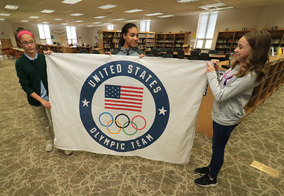 Olympic flag given to Longsjo Middle School, November 15, 2018