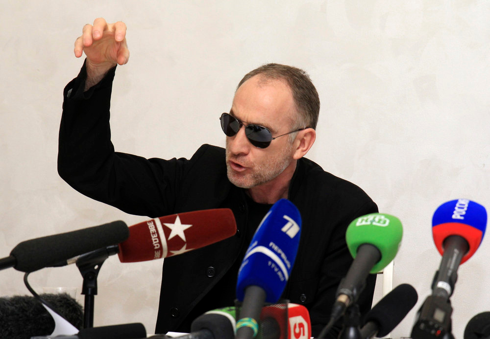 . Anzor Tsarnaev, father of Tamerlan and Dzhokhar Tsarnaev - the two men suspected of carrying out the Boston bombings, gestures during a news conference in Makhachkala April 25, 2013. Anzor Tsarnaev and former wife Zubeidat Tsarnaeva denied their sons had planted the bombs at the Boston marathon which killed three people and wounded 264, saying they had been framed. REUTERS/Stringer