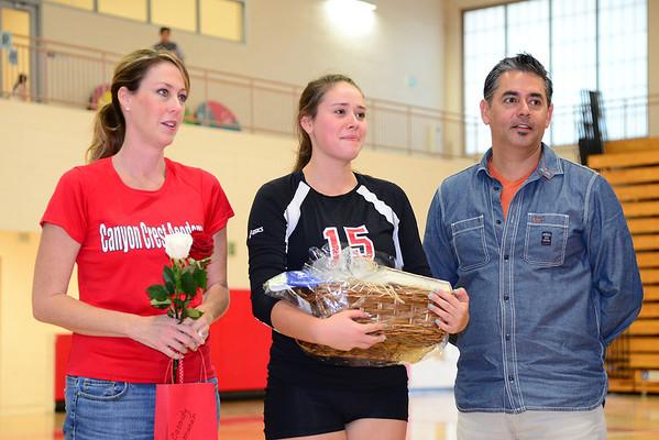 CCA Volleyball Senior Night, 11-7-13