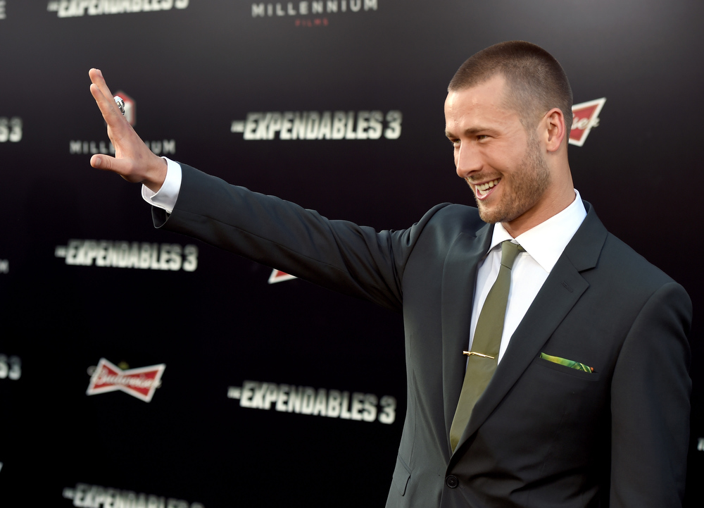 """. Actor Glen Powell attends the premiere of Lionsgate Films\' \""""The Expendables 3\"""" at TCL Chinese Theatre on August 11, 2014 in Hollywood, California.  (Photo by Kevin Winter/Getty Images)"""