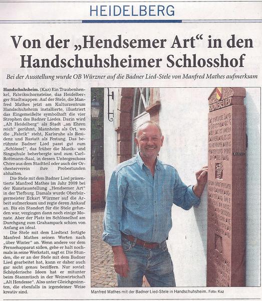 Zeitungsartikel Badner Lied Stele RNZ Blick in die Stadtteile vom 31-05-2011