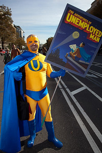 """Imaginative protests like this character dressed asd """"Unemployed Man"""" were everywhere among the several hundred thousand who attended a """"Rally to Restore Sanity and/or Fear"""" on the National Mall organized by Comedy Central talk show hosts Jon Stewart and Stephen Colbert  in Washington DC on Saturday, October 30, 2010.  The economy seems to be recovering slowly but unemployment has remained stubbornly high. (Photo by Jeff Malet)"""