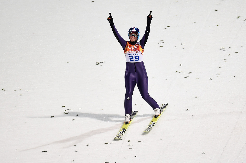 . Carina Vogt of Germany lands after jumping during the Ladies\' Normal Hill Individual first round on day 4 of the Sochi 2014 Winter Olympics at the RusSki Gorki Ski Jumping Center on February 11, 2014 in Sochi, Russia.  (Photo by Lars Baron/Getty Images)