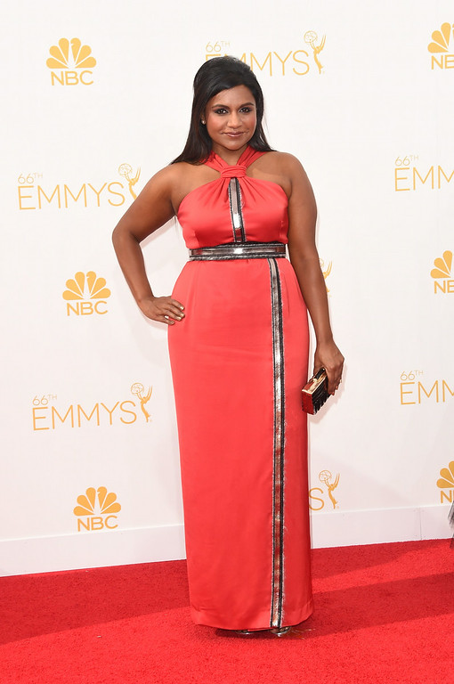 . Actress/writer Mindy Kaling attends the 66th Annual Primetime Emmy Awards held at Nokia Theatre L.A. Live on August 25, 2014 in Los Angeles, California.  (Photo by Jason Merritt/Getty Images)