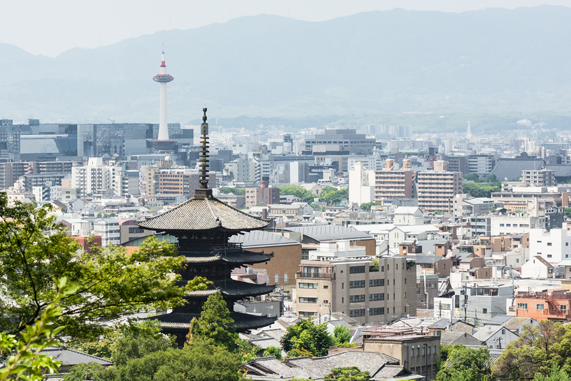 Aerial view of Kyoto city from Kodaiji temple. Editorial credit: twoKim images / Shutterstock.com