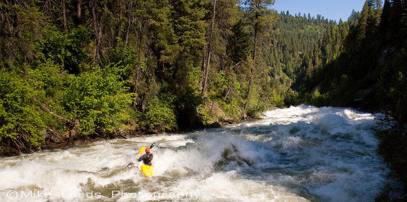 "Paddler Brian Ward entering ""Screaming Left Turn"" on the North Fork Payette River, Idaho. 7,000cfs+"
