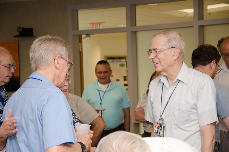 Bruce with Bob Silverberg -- Bruce Woodgate retirement party, NASA/GSFC, June 2013