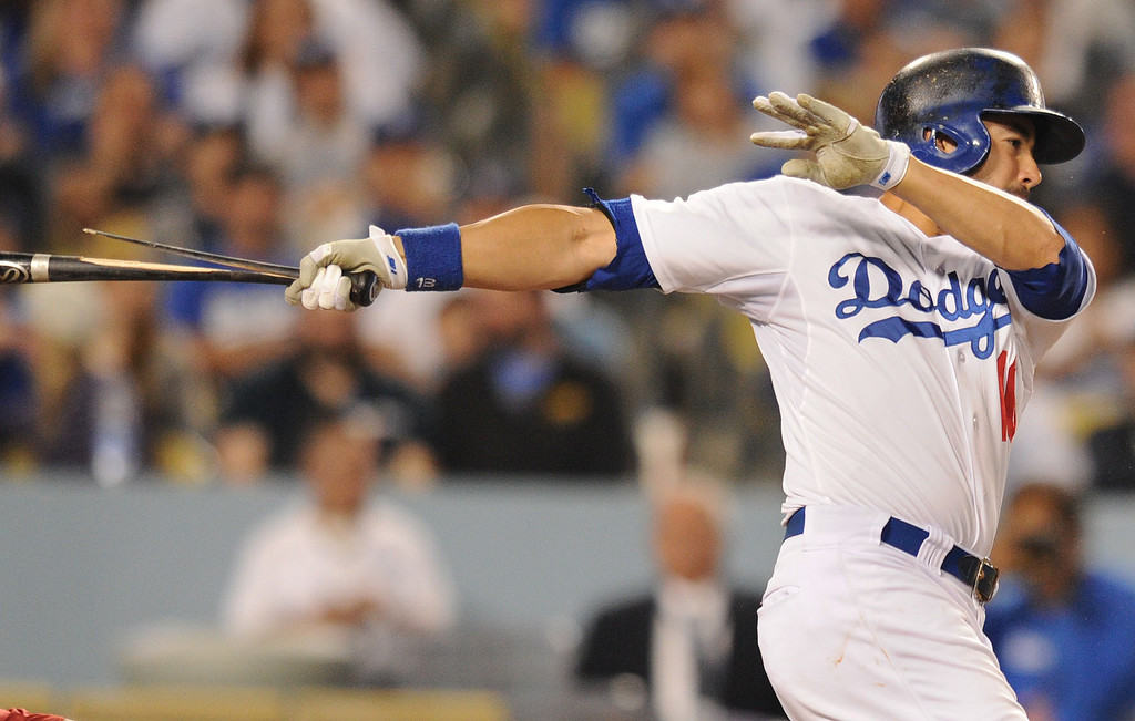 . Andre Ethier fractures his bat in the 8th inning. The Dodgers defeated the Arizona Diamondbacks 5-3 after Scott Van Slyke hit a 2 run walk off homer in the 11 inning at Dodger Stadium in Los Angeles, CA. 9/10/2013. photo by (John McCoy/Los Angeles Daily News)