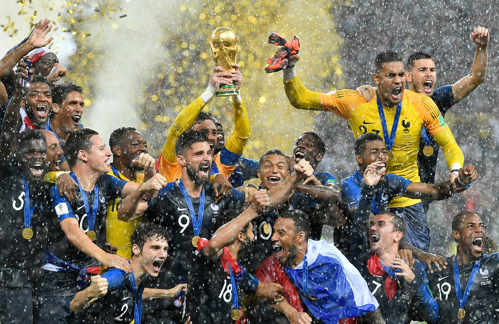 . France goalkeeper Hugo Lloris lifts the trophy after France won 4-2 during the final match between France and Croatia at the 2018 soccer World Cup in the Luzhniki Stadium in Moscow, Russia, Sunday, July 15, 2018. (AP Photo/Martin Meissner)