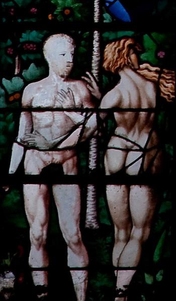 Rouen, Saint-Patrice Church, The Triumph of Faith Window, Adam and Eve