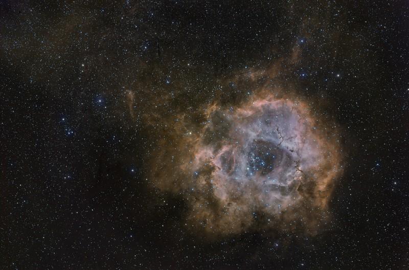 "Rossete Nebula, NGC 2237<br />  RA: 06h 30m 55s Dec: +05°02'52"" SBIG STL 11000M C1 , Mount: Takahashi EM200 Temma2 , TMB 130/780 with X0,75, M82, Riccardi, Reducer., Baader, 50mm, unmount, Filters, HaRGB, 21, x, 600"" Halfa, RGB 8 x 600"", each, RGB, channel, at -15º to-1'ºC . Pixinsight proceced. February-April 2013 , Mairena del Aljarafe Sevilla Spain"
