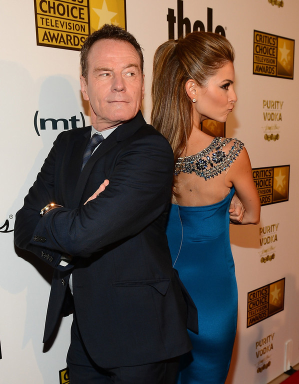 . Actors Bryan Cranston (L) and Maria Menounos arrive at Broadcast Television Journalists Association\'s third annual Critics\' Choice Television Awards at The Beverly Hilton Hotel on June 10, 2013 in Beverly Hills, California.  (Photo by Mark Davis/Getty Images for CCTA)