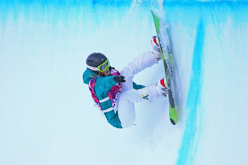 . Torah Bright of Australia competes in the Snowboard Women\'s Halfpipe Qualification Heats on day five of the Sochi 2014 Winter Olympics at Rosa Khutor Extreme Park on February 12, 2014 in Sochi, Russia.  (Photo by Cameron Spencer/Getty Images)