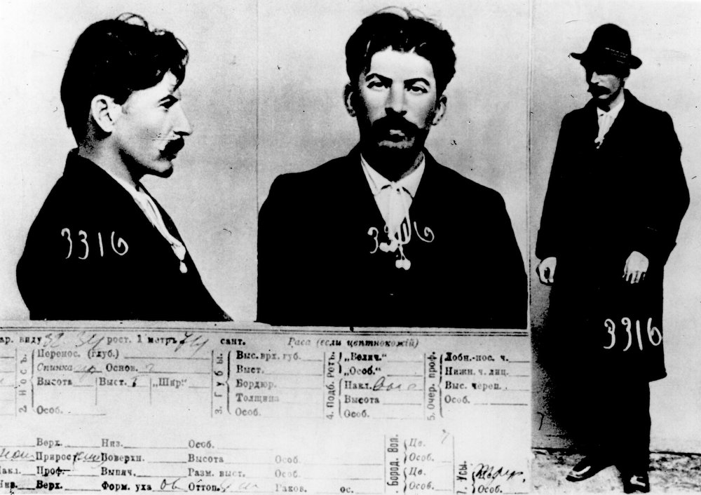 . A card from the register of the St Petersburg imperial police on Soviet leader Joseph Stalin.   (Photo by Hulton Archive/Getty Images)