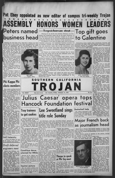 The Trojan, Vol. 35, No. 84, February 11, 1944
