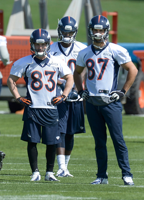 . Wes Welker (83) of the Denver Broncos and Eric Decker (87) look on during the teams OTAs May 20, 2013 at Dove Valley. All offseason training activities (OTAs) are voluntary until the mandatory minicamp June 11-13. (Photo By John Leyba/The Denver Post)