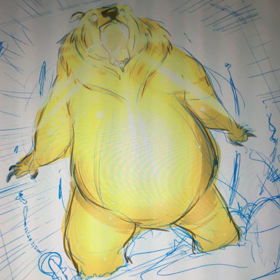 Working on Nightlight bear drawing