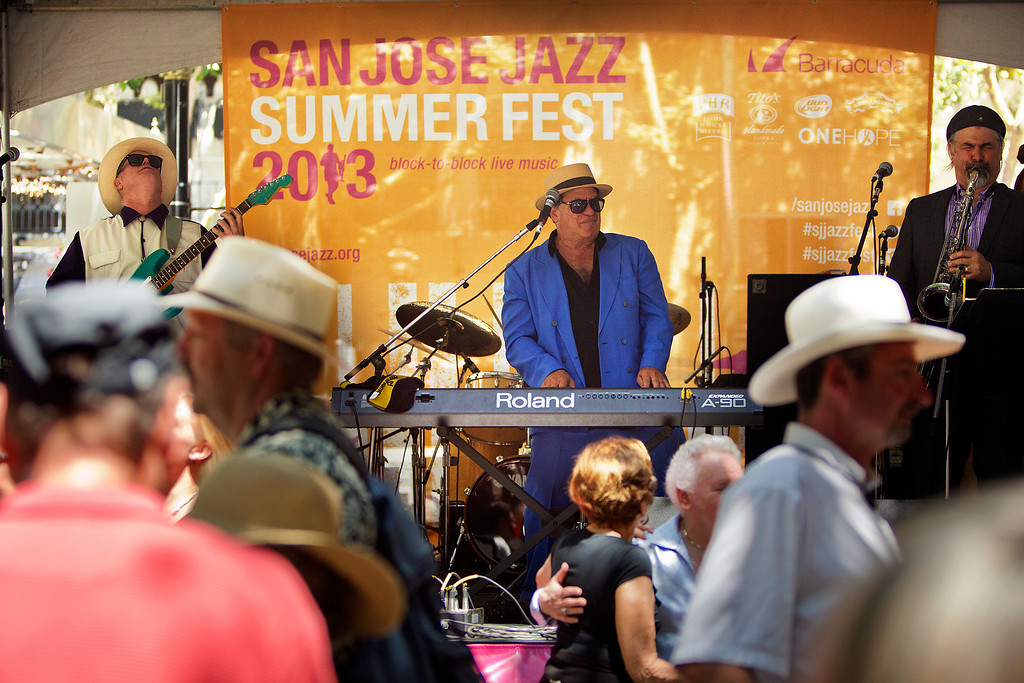 . Mitch Wood and His Rocket 88\'s perform on the Big Easy Stage at the San Jose Jazz Festival, in San Jose, Calif., on Saturday Aug. 10, 2013.  (LiPo Ching/Bay Area News Group)