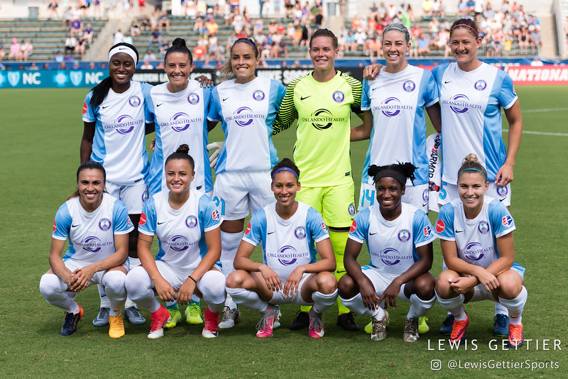 Orlando Pride Starting XI before a match between the NC Courage and the Orlando Pride in Cary, NC in Week 3 of the 2017 NWSL season. Photo by Lewis Gettier.