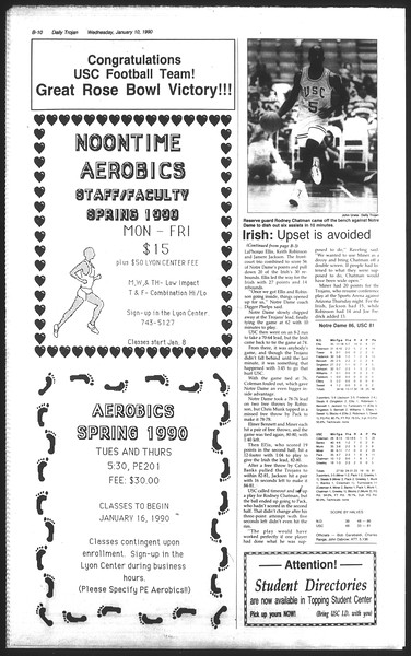 Daily Trojan, Vol. 111, No. 1, January 10, 1990